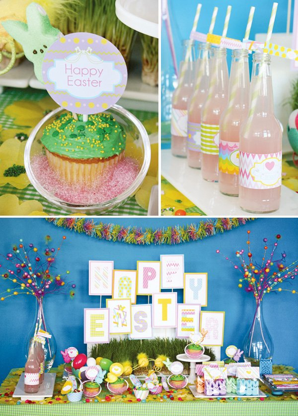 easter bunny collection dessert table and close up on cupcake toppers and drink labels