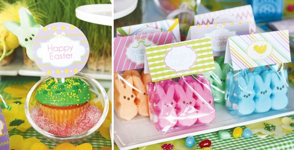 easter bunny collection peep labels and cupcake toppers