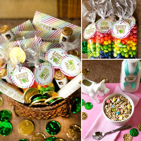 rainbow skittles party favors, pot of gold party favors - st. patrick's day