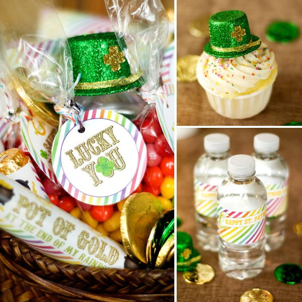 "st. patrick's day printables - ""lucky you"" tags and rainbow water bottle labels"