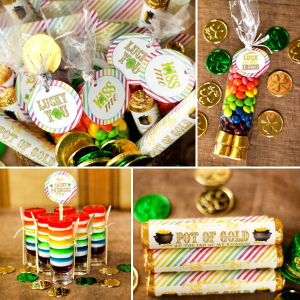 st. patrick's day rainbow jello, party favors, and pot of gold rolos