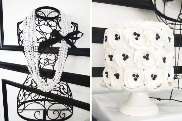 black and white camilla flower cakes and wrought iron bust for a coco chanel dessert table