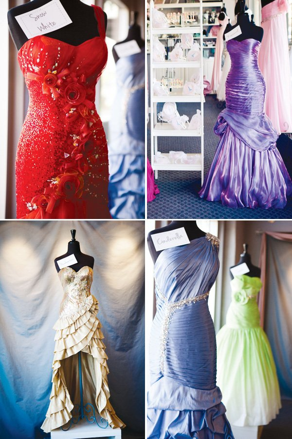 fashion show project runway party with ball gowns as decoration