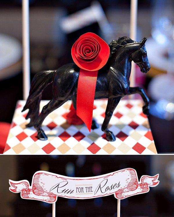 kentucky derby party decorations - chalkboard horses with paper roses