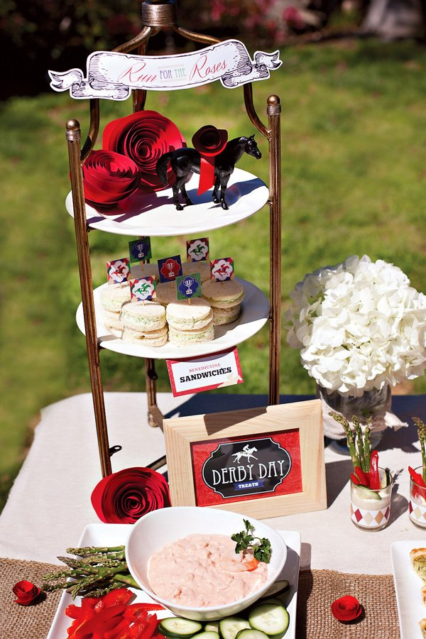 kentucky derby party food table centerpiece