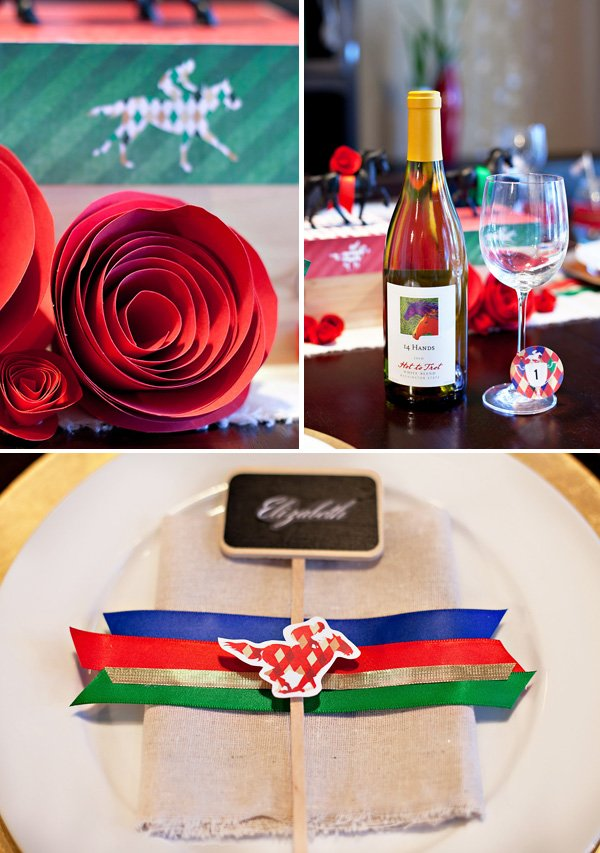 kentucky derby place settings, red paper roses, drink tags, and 14 Hands wine