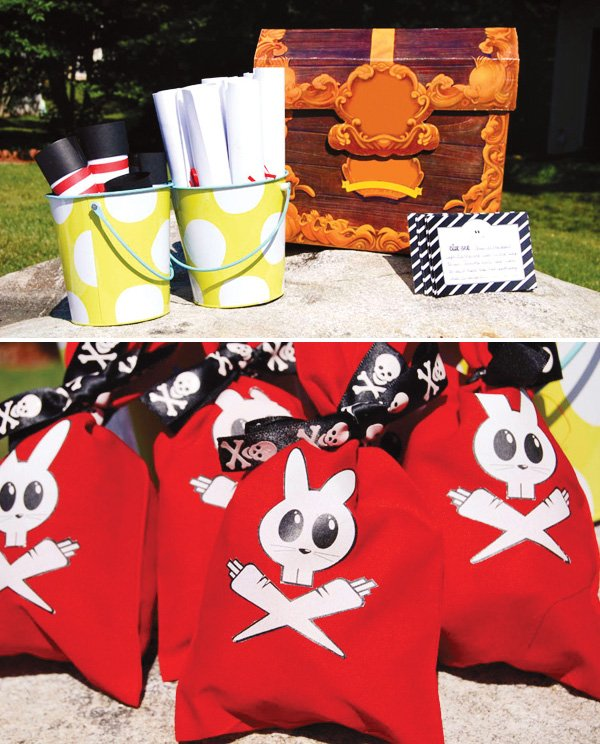 easter pirate bunny party treasure chest and bags