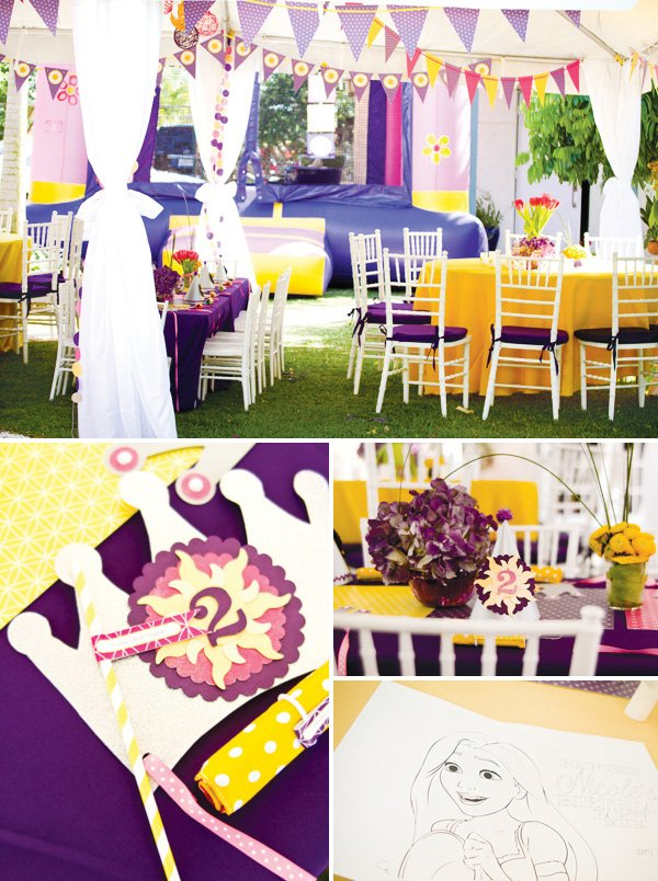 tangled birthday party decorations, banners, and kids tables
