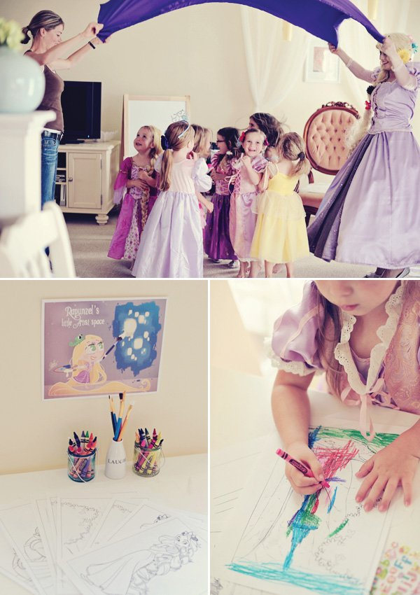 tangled birthday princess party games and dress-up