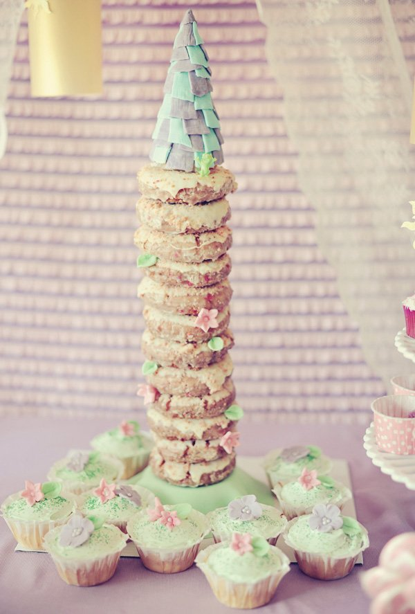 """tangled birthday party donut tower """"cake"""""""