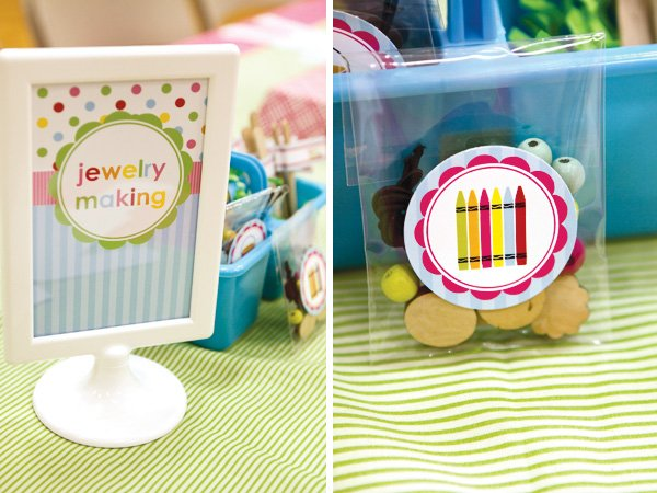 arts and crafts party jewelry making station