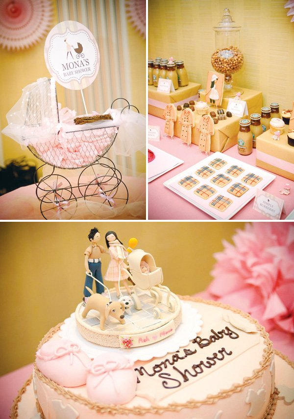 burberry baby shower carriage and cake