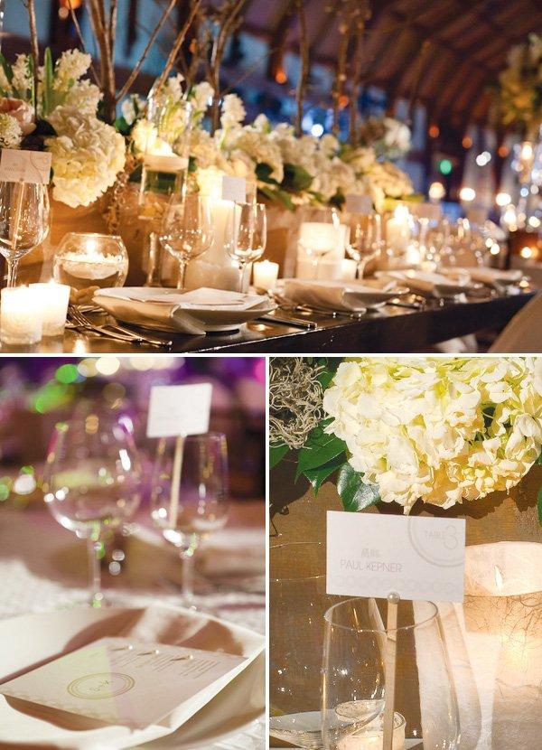 elegant white wedding placecard