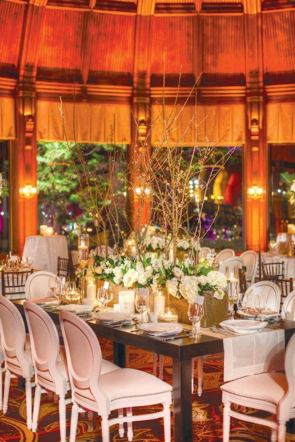 white wedding wooden table