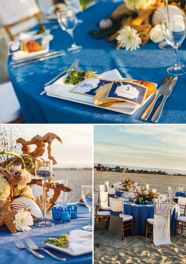 beach wedding - tables, centerpieces, and place cards