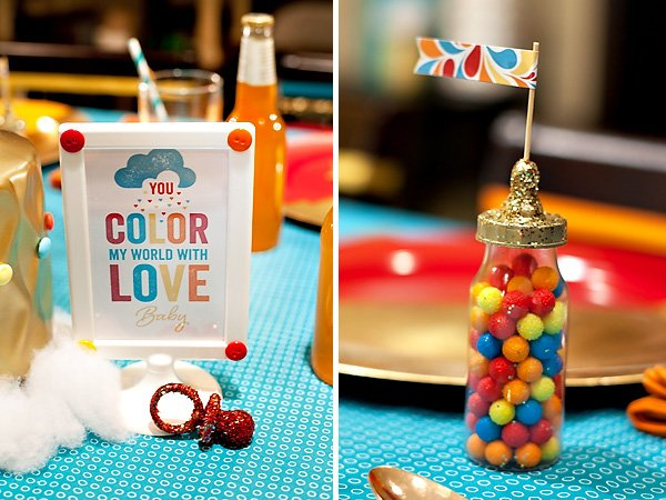 retro rainbow baby shower printables from hwtm
