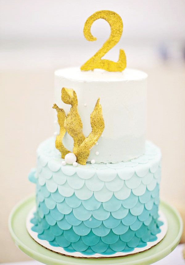 Aqua ombre scalloped cake