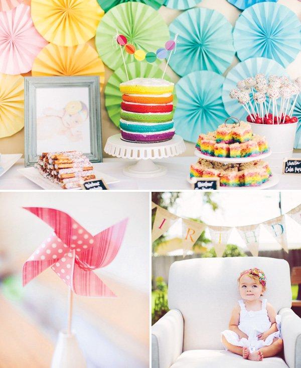 Whimsical Backyard Rainbow First Birthday // Hostess With