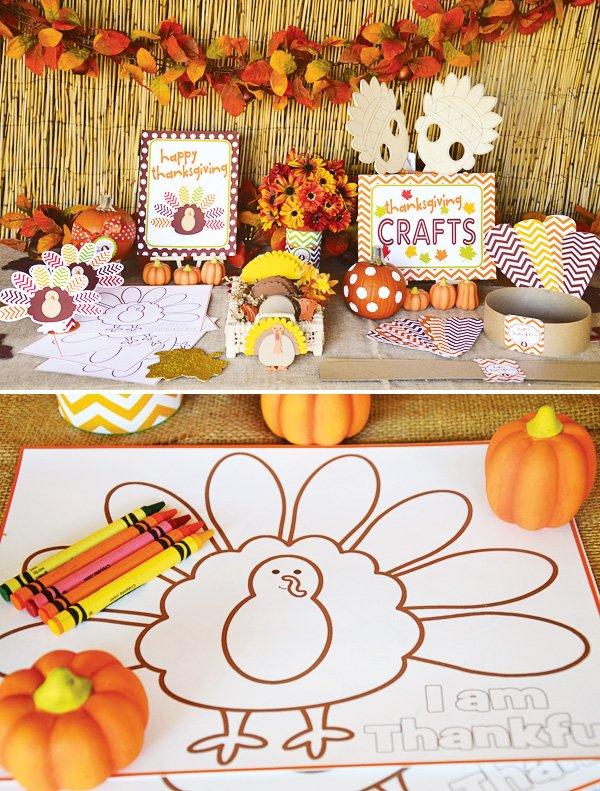 thanksgiving kids craft table