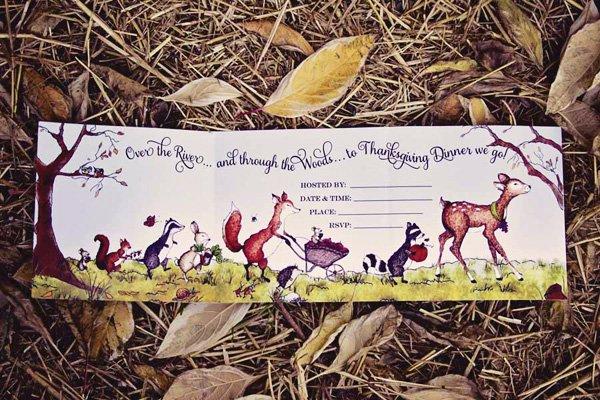 through the woods thanksgiving invitation