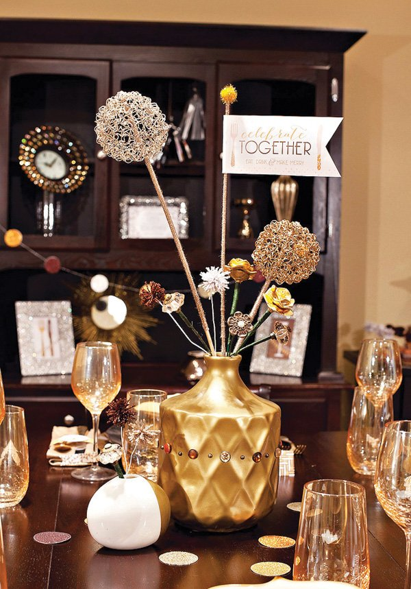 metallic gold eclectic centerpiece