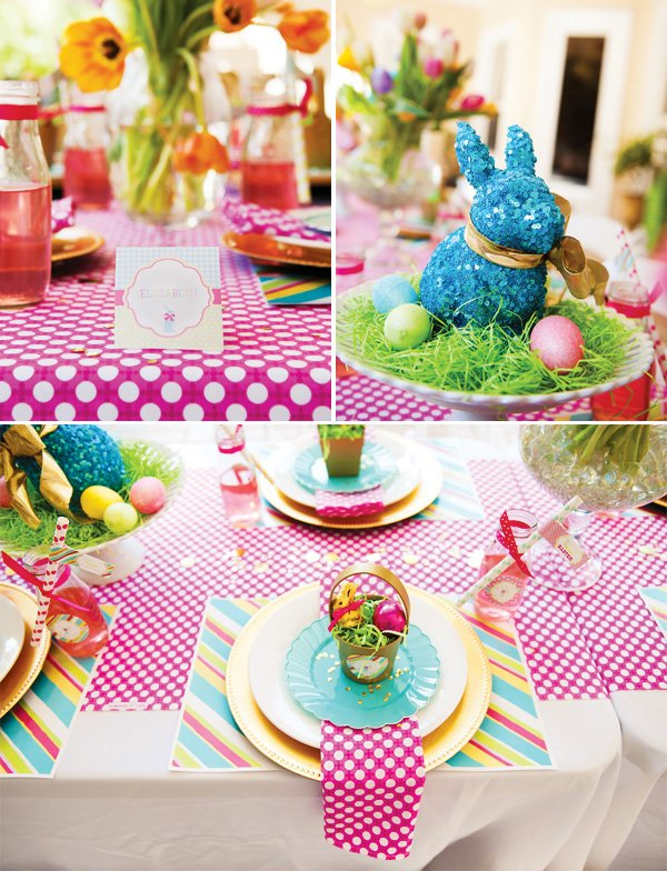 pink easter tablescape