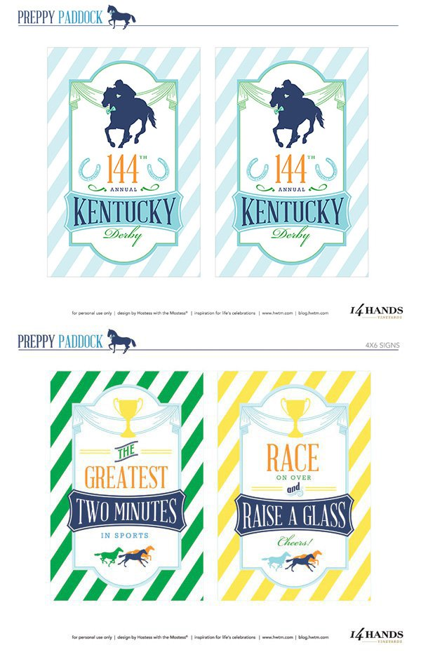 Kentucky Derby Party Printables - 4x6 Signs