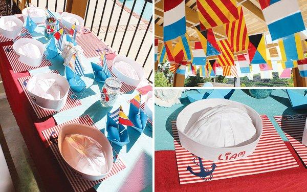 Nautical kids birthday tablescape