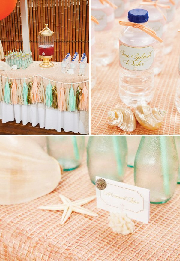 peach and mint party decorations