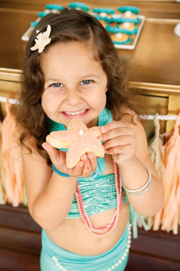 mermaid party with starfish cookies