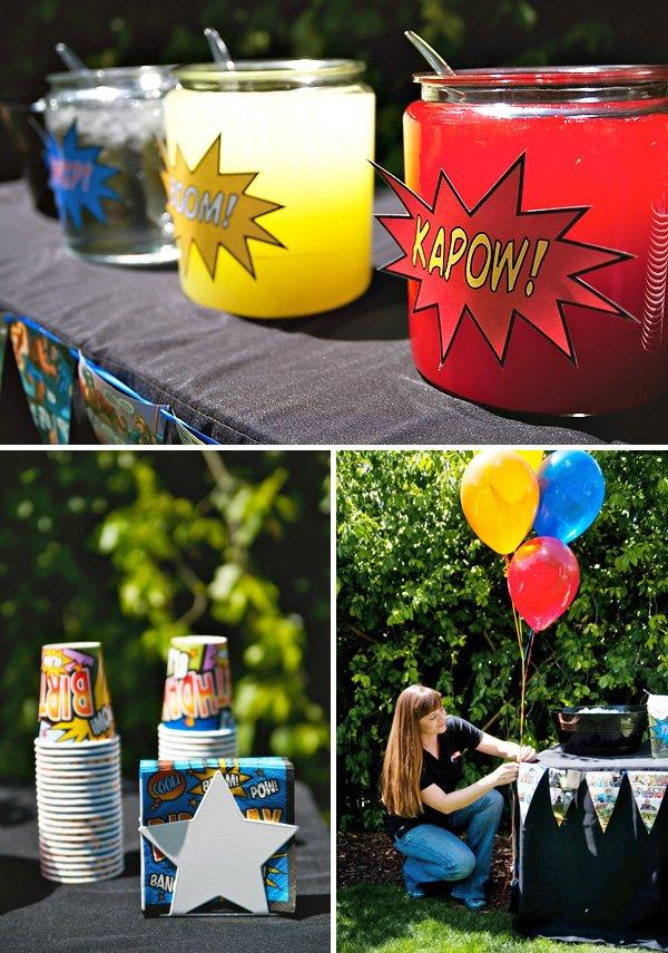 super hero drink table