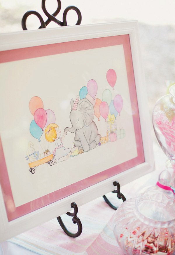 Elephant and baby birthday painting