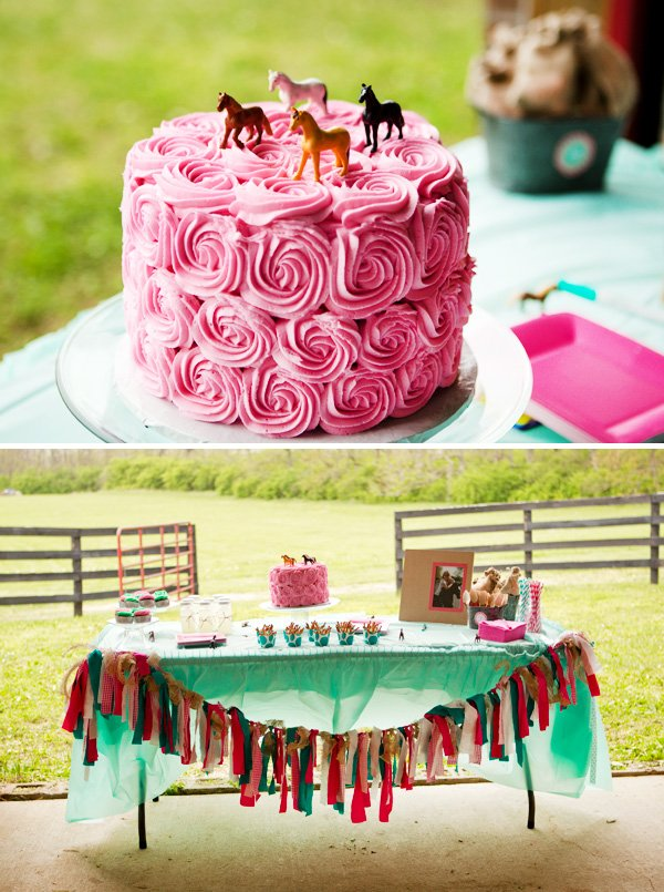Pink Birthday Cake with Toy Horse Toppers