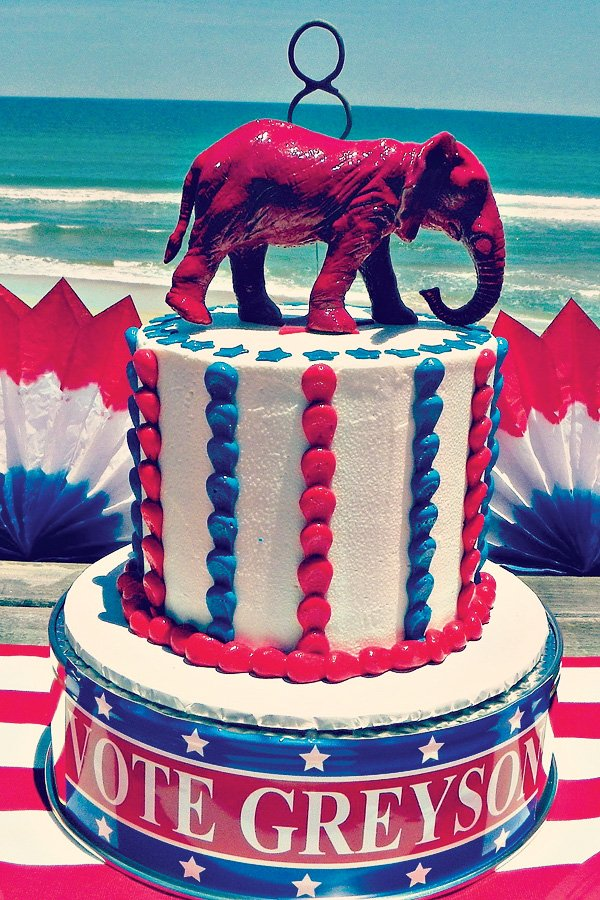 Patriotic Top Hat birthday cake