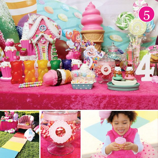 Colorful Candyland themed birthday party