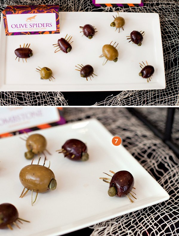 olive and rosemary spiders for halloween