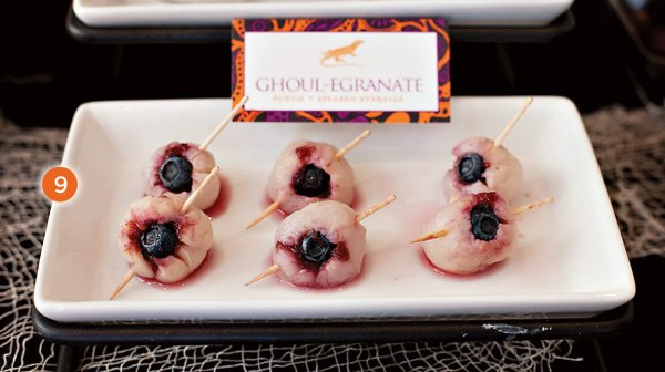 halloween drink garnish - speared eyeballs