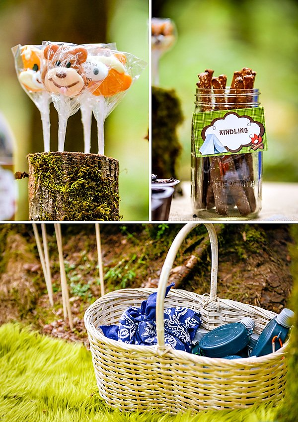 bear lollipops for a boys camping party