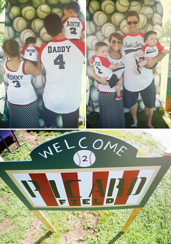 family baseball team photo booth and stadium sign