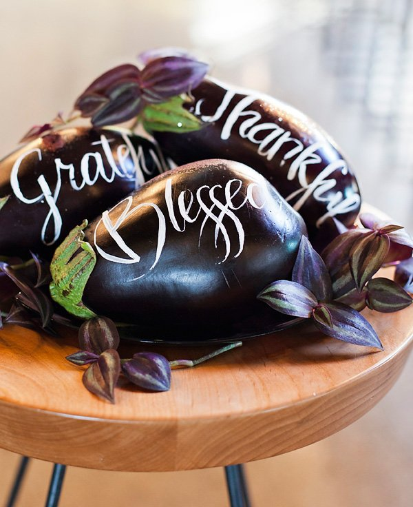 DIY painted eggplant centerpiece that says grateful, thankful & blessed