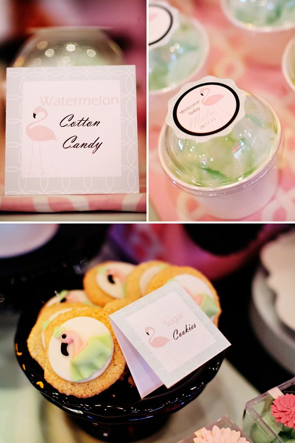 pink flamingo baby shower mint desserts like watermelon cotton candy and sugar cookies