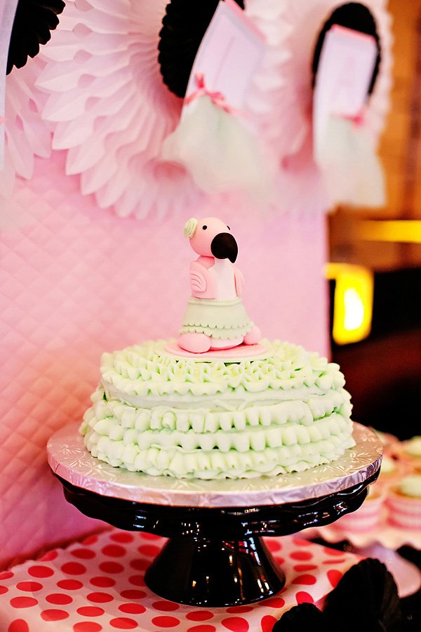 mint ruffle pink baby flamingo cake for a baby shower