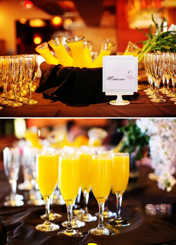 the welcome drink for the baby shower was a mimosa
