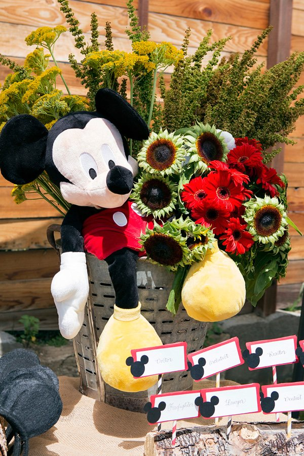 mickey mouse themed centerpiece - red yellow flowers