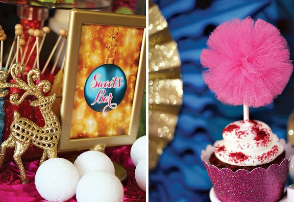colorful christmas dessert table sign and cupcake pom-pom topper made out of pink tulle