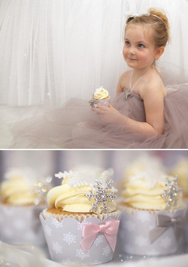 snowflake princess cupcakes and birthday girl