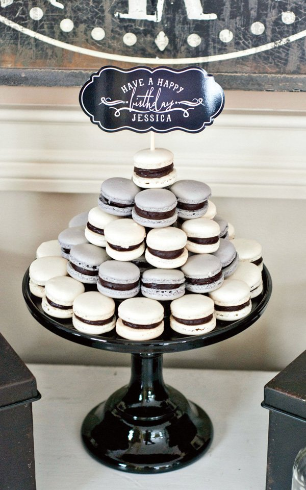 black and silver macarons