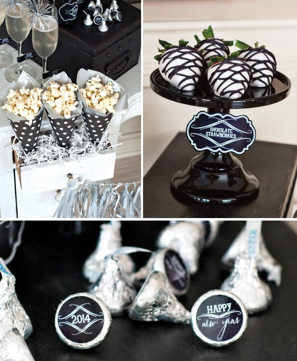 new years black and white party sweets