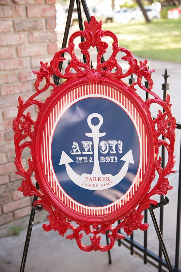 nautical baby shower welcome sign