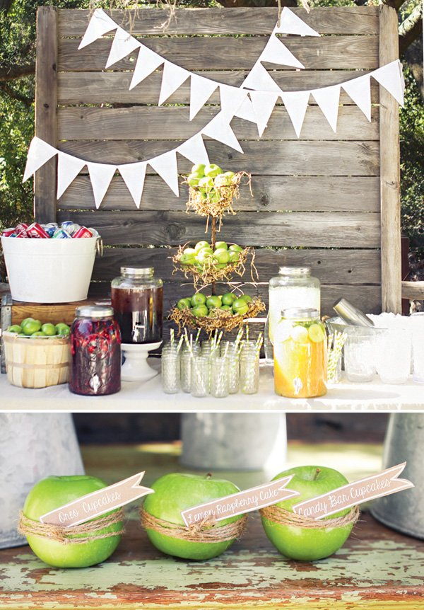 granny smith apple of my eye baby shower dessert table